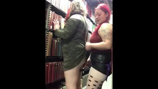 BBW Lesbian Strap-on Fuck at Library